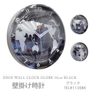 壁掛け時計 ブラック EDGE WALL CLOCK GLOBE 30cm BLACK TELR1130BK|ioo