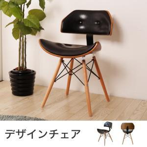 チェア アンティーク レザー調 ブラック 木目フレーム おしゃれ モダン ミッドセンチュリー 椅子 いす イス チェアー パーソナルチェア デスクチェア|ioo