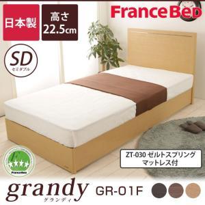 フランスベッド セミダブルベッド SC ゼルトスプリングマットレス(ZT-030)セット 高さ22.5cm グランディ ioo