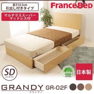 フランスベッド グランディ 引出し付 セミダブル 高さ22.5cm マルチラスマットレス(MS-14)付 日本製 GR-02F GRANDY ioo