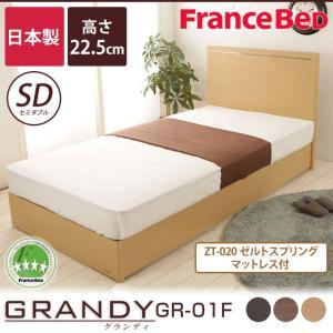 フランスベッド グランディ セミダブルベッド SC ゼルトスプリングマットレス(ZT-020)セット 高さ22.5cm 型番:GR-01F 225 SC + ZT-020  |ioo