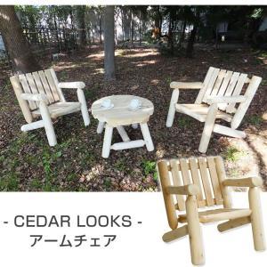 8/24〜8/26プレミアム会員10%OFF! ガーデンチェアー Cedar Looks アームチェア 天然木製 肘掛イス|ioo