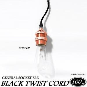 1灯用ソケット ねじりコード 100cm 銅メッキ塗装 COPPER ioo