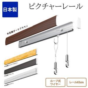 ピクチャーレール セット レール65cm ループ式 ホワイト 白 日本製 RAILSUN Colors(レースサン カラーズ) ピクチャーレール 石膏ボード用 石こうボード用 木壁|ioo