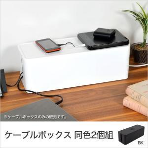 ケーブルボックス コードケース 同色2個セット ケーブルタップ収納 コンセント収納 コードボックス ホワイト ブラック 蓋つき 配線収納 配線隠し おしゃれ|ioo