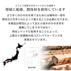 すのこベッド ダブルサイズ 棚付き 国産 島根・高知県産 ひのきベッド すのこベッド ダブルベッド スノコベッド 日本製 ヒノキ フレームのみ すのこベット|ioo|11