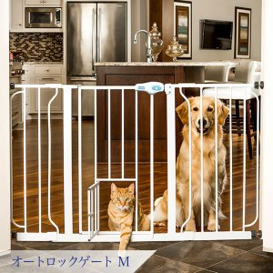 犬 猫 柵 仕切り ゲート オートロックゲート M|ip-plus