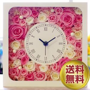 プリザーブドフラワー ギフト 時計 結婚式 両親 父親 母親 贈り物 退職祝い 正方形 上司  恩師 還暦祝い 電報 プレゼント 退職祝い 花時計 スクウェア|ipfa