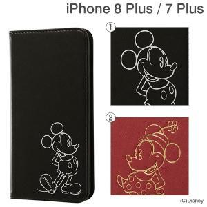 ディズニー iPhone8 Plus iPhone7 Plus アイフォン7プラス ケース 手帳 横型 カバー ワンポイントタイプ ミッキー ミニー|iplus