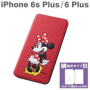 iphone6s PLUS ケース ディズニー  手帳型 横開き ブックカバータイプ・レザー風ジャケット(ミニー)【disney_y】横開き
