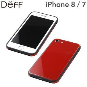 iphone8 ケース iphone7 Deff ディーフ ガラス&アルミニウム&TPU ハイブリッドケース UNIO レッド|iplus