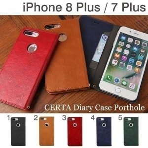 iPhone8plus ケース 手帳 横型 iPhone7Plus アイフォン7プラス CERTA ケルタ ポートホール 横型ケース スマホケース メンズ アイフォンケース iplus