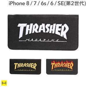 iPhone8 アイフォン8 ケース iPhone7 アイフォン7 ケース THRASHER スラッシャー iPhone6 ケース カバー 耐衝撃 手帳 横 手帳型ケース スマホケース メンズ|iplus