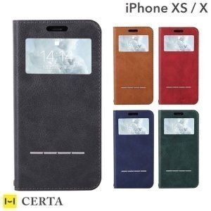 iphonex  iphonexs ケース 窓付き 手帳型 アイフォンx アイホンx  窓付 ケース ダイアリー ケース CERTA FLIP ケルタフリップ|iplus
