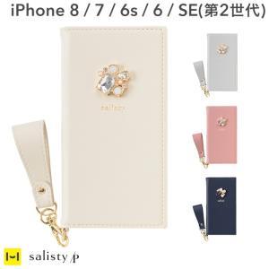 iphoneX ケース 手帳型 おしゃれ 女子 可愛い iPhoneXS ケース iphone 8 ケース iphone7 6s 6 上品 salisty サリスティ P ワンポイント ビジュー|iplus
