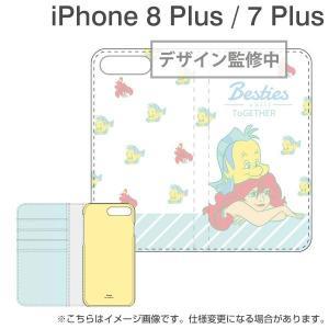 iPhone8Plus アイフォン8プラス ケース ディズニー 手帳 iPhone8プラス iPhone7Plus  キャラクター 手帳 横 フリップカバー アリエル iplus