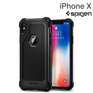Spigen シュピゲン iPhoneX アイフォンX ケース カバー アイホンX 耐衝撃 iPhoneケース Rugged Armor Extra Black ブラック|iplus