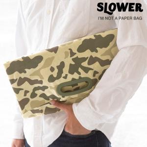 SLOWER BAG スローワーバッグ クラッチバッグ カモフラ 迷彩 セカンドバッグ ブランド ペーパーバッグ ポーチ バッグ 鞄 タイベック(R) メンズ|iplus