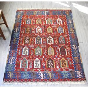 草木染・ス-パ-ファインキリム 最高級の細かな手織りトルコキリム 181x138cmセッヂャ-デ 鳥が宿る生命の樹 シャルキョイ