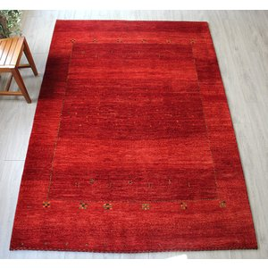 手織りギャッベ・イラン南部の遊牧民の織るギャッベ/リビングサイズ シューウリ240×168cmシンプルなレッドグラデーション