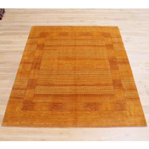 ギャッベ/ロリアタシュLoriAtash ギャベ 最上級の織り 大きい手織りラグ 大型ルームサイズ294x235cm イエロー&オレンジ・スクエアデザイン 生命の樹