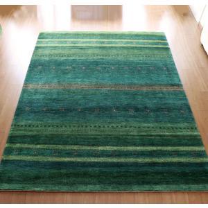ギャッベ/ロリアタシュLoriAtash ギャベ 最上級の織り 大きい手織りラグ 大型ルームサイズ325x247cm グリーングラデーション ストライプ ボーダー