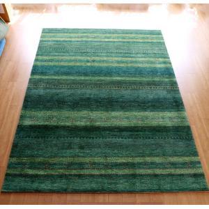ギャッベ/ロリアタシュLoriAtash ギャベ 最上級の織り 大きい手織りラグ 大型ルームサイズ310x222cm グリーングラデーション