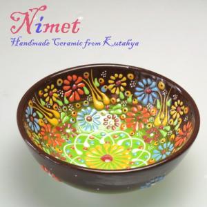 Nimet Design トルコ陶器ボールS・ブラウンパステルグラデーション・立体釉キュタフヤ陶器