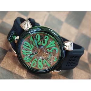 【化粧箱破損・小キズありアウトレット品】ガガミラノ GAGA MILANO 腕時計 6091.01 BK ラバーベルト|ippin