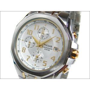 パルサー PULSAR 腕時計 アラームクロノグラフ PF3424 ホワイト メタルベルト|ippin