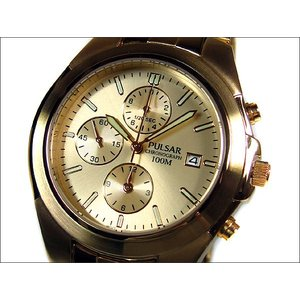 パルサー PULSAR 腕時計 クロノグラフ PF8210 ゴールド メタルベルト|ippin