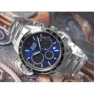 エルジン ELGIN 腕時計 クロノグラフ FK1401S-BL ブルー メタルベルト|ippin