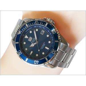 エルジン ELGIN 腕時計 ソーラー ダイバー FK1426S-BL ブルー メタルベルト|ippin