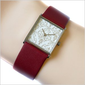 エービーアート a.b.art 腕時計 2013年 限定モデル DAMASK-ES ホワイト文字盤 24mm×24mm レッド カーフレザーベルト クォーツ ippin