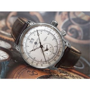 ツェッペリン ZEPPELIN 腕時計 7640-1N 100周年記念 クォーツ 42MM レザーベルト|ippin