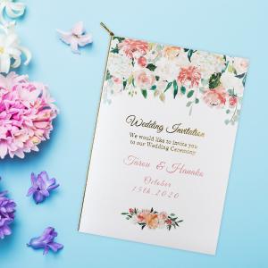 結婚式招待状の表紙におふたりのお名前と、挙式日が印刷された世界で一つだけのオリジナル招待状です。 オ...