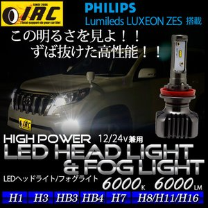 H1 H3 H7 H8 H11 H16 HB3 HB4 LED フォグ バルブ ヘッド ライト 40W  Lo Philips 白 ホワイト 6000K 6000LM 送料無料 12V 24V 兼用 2個1セット|irc2006jp
