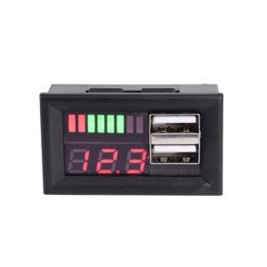12Vバッテリー用電圧計 USB端子付き 【カラーバー&数値&USB端子x2】