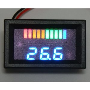 24Vバッテリー用電圧計 DX【カラーバー&数値/簡単2線式】