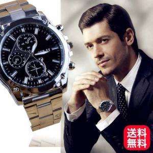 腕時計 メンズ アナログ クロノグラフ ステンレスバンド 腕時計 スポーツ クォーツ時計 おしゃれ かっこいい ブラック シルバー 送料無料|irisblue