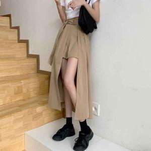 不規則スカート ショートパンツ付 スリット ロングスカート ショーパン スリット入り スカート アシメ パンツ ベルト付|irisblue