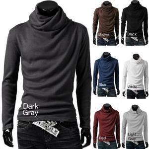 タートルネック カットソー メンズ トップス  長袖 シャツ カジュアル シャツ 6色 送料無料|irisblue