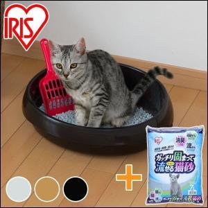 猫砂 アイリスオーヤマ 流せる 猫 トイレ 砂 ネコのトイレ390 P-NE390+固まってトイレに...