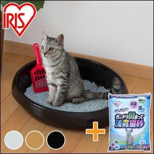 猫砂 アイリスオーヤマ 流せる 猫 トイレ 砂 ネコのトイレ480 P-NE480+固まってトイレに...