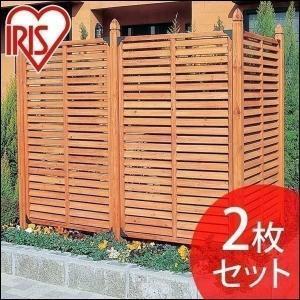 ルーバーラティス ラティスフェンス 樹脂 天然木 幅90cm ML-915 ブラウン 2枚セット アイリスオーヤマ(代引不可) (大型宅配便)|irisplaza