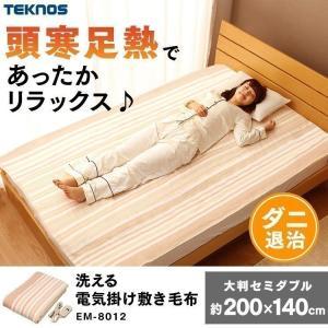 TEKNOS 大判 掛け敷き毛布 暖かい洗える EM-8012 ベージュ