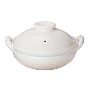 長谷園 ヘルシー蒸し鍋 白 中 (直火専用) NZW-23 長谷製陶 (D)(B)の商品画像|ナビ