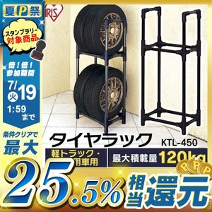 タイヤラック 4本 縦置き タイヤ収納 タイヤラック カバーなし 軽トラック KTL-450 ブラック 車庫 ガレージ アイリスオーヤマ (あすつく)|irisplaza
