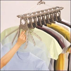 洗濯 ハンガー アルミのびのび 9連ガー ブラウン 取り入れ簡単 洗濯ハンガー コンパクト 収納 TA-8 ツウィンモール|iristopmart123