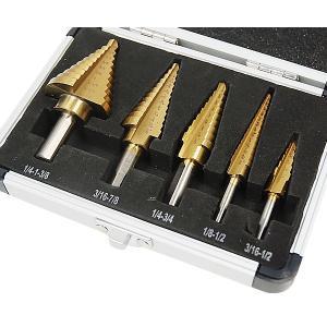 タケノコドリル 5本セット 専用収納ケース付き / 穴あけ 面取り 穴拡大 バリ取り 五本|iristopmart123